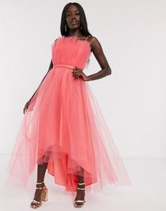 Коралловое платье для выпускного миди из тюля с открытыми плечами и асимметричным подолом Dolly & Delicious-Оранжевый