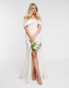 Свадебное платье с запахом и открытыми плечами ASOS EDITION-Кремовый