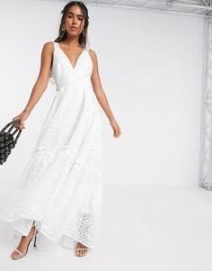Блестящее платье макси А-силуэта с вышивкой ришелье ASOS EDITION-Белый