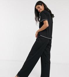 Пижамная футболка и брюки ASOS DESIGN Tall-Черный