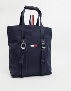 Темно-синяя нейлоновая сумка-тоут с логотипом Tommy Hilfiger-Темно-синий