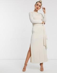 Кремовое платье макси с поясом Significant Other-Кремовый