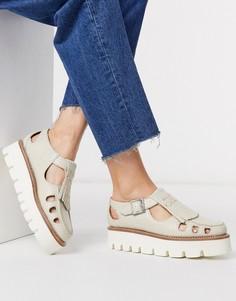 Светлые кожаные туфли на плоской подошве в стиле Мэри Джейн с эффектом змеиной кожи и пряжками Grenson-Белый