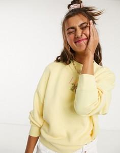 Свободный свитшот с цветочной вышивкой Lazy Oaf-Желтый