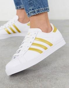 Белые кроссовки с золотистыми полосками adidas originals-Белый