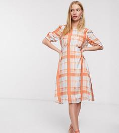 Платье миди с клетку с завязкой Lost Ink-Оранжевый