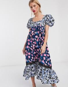 Платье макси с цветочным принтом и баской Lost Ink-Мульти