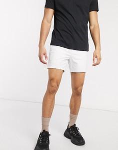 Белые узкие короткие шорты чиносы с эластичным поясом ASOS DESIGN-Белый