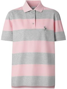 Burberry полосатая рубашка-поло с вышивкой
