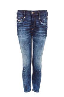 Зауженные синие брюки из денима Diesel