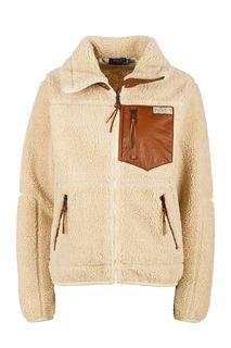 Легкая куртка бежевого цвета с кожаными вставками Polo Ralph Lauren