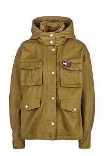 Куртка из хлопка цвета хаки Tommy Jeans
