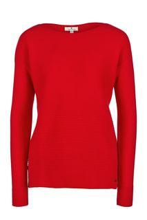 Хлопковый джемпер красного цвета Tom Tailor