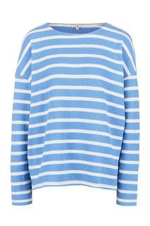 Хлопковый джемпер синего цвета в полоску Tom Tailor