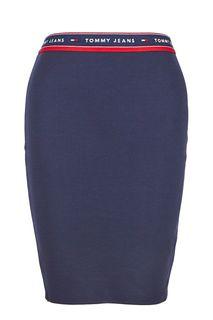 Облегающая трикотажная юбка синего цвета Tommy Jeans