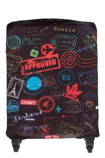 Чехол на чемодан с разноцветным принтом Fabretti
