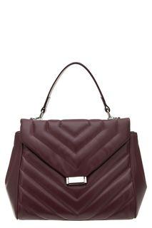 Бордовая стеганая сумка из гладкой кожи Afina