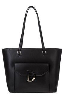 Черная кожаная сумка в форме трапеции Dkny