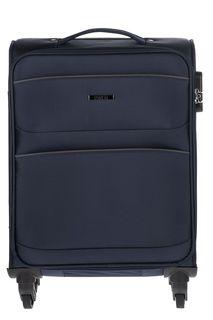Текстильный чемодан на колесах с карманами Fabretti