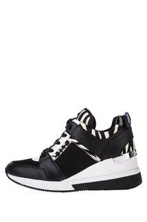 Черные кроссовки с вставкой из натурального меха Georgie Michael Michael Kors
