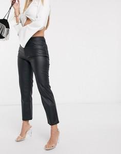 Черные брюки из искусственной кожи ASOS DESIGN-Черный