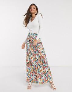 Юбка макси с цветочным узором в винтажном стиле Neon Rose-Белый