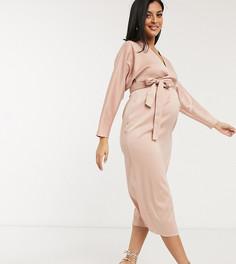 """Розовое атласное платье миди с рукавами """"летучая мышь"""" и поясом ASOS DESIGN Maternity-Розовый"""
