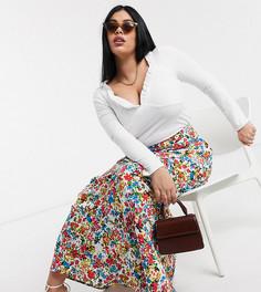 Юбка макси с цветочным принтом в винтажном стиле Neon Rose plus-Белый