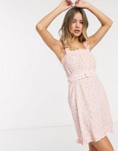 Розовое летнее платье мини с поясом и цветочным принтом Faithfull-Розовый