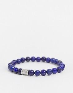 Браслет с темно-синими бусинами и магнитной застежкой Hugo Boss-Темно-синий