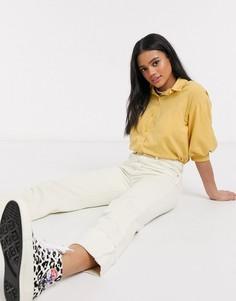 Блузка горчичного цвета с пышными рукавами Monki-Желтый