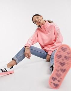 Розовый флисовый джемпер с молнией Adidas Originals