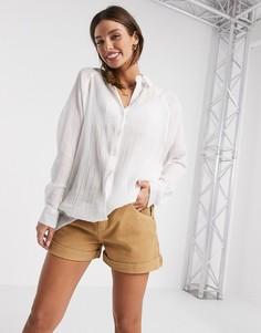 Рубашка бойфренда с мятым эффектом и длинными рукавами ASOS DESIGN-Белый