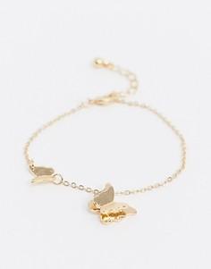 Золотистый браслет-цепочка с подвесками ASOS DESIGN-Золотой
