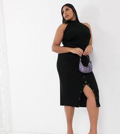 Черная облегающая трикотажная юбка от комплекта с пуговицами Fashionkilla Plus-Черный