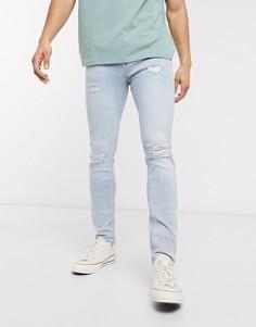 Голубые джинсы скинни с рваными коленями ASOS DESIGN-Синий