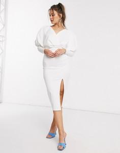Платье-футляр миди цвета слоновой кости с драпированными рукавами ASOS DESIGN-Белый