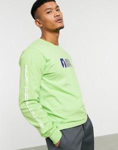 Лонгслив лаймового цвета с принтом HUF-Зеленый