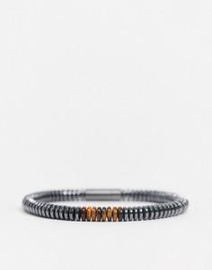 Браслет с бусинами и магнитной застежкой Hugo Boss-Серый