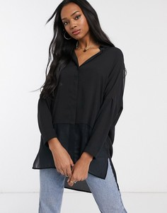 Черная рубашка с длинными рукавами ASOS DESIGN-Черный