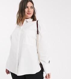 Белая рубашка бойфренда с длинными рукавами ASOS DESIGN Curve-Белый