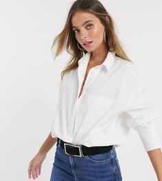 Белая рубашка бойфренда с длинными рукавами ASOS DESIGN Petite-Белый