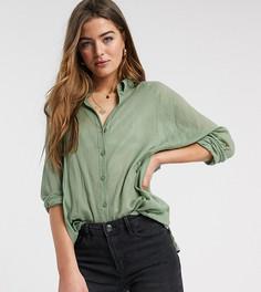 Рубашка бойфренда из жатой ткани цвета хаки с длинными рукавами ASOS DESIGN Tall-Зеленый