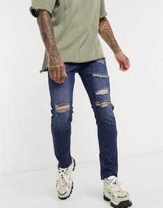 Темные рваные джинсы скинни ASOS DESIGN-Синий