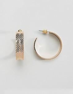 Серьги-кольца с отделкой в виде шин ASOS-Золотой