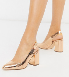 Туфли цвета розового золота на блочном каблуке для широкой стопы London Rebel-Медный
