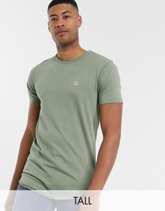 Длинная футболка цвета хаки с необработанным краем Le Breve Tall-Зеленый