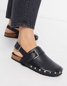 Черные кожаные туфли на плоской подошве с заклепками ASOS DESIGN-Черный