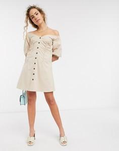 Платье мини на пуговицах с открытыми плечами Lost Ink-Бежевый