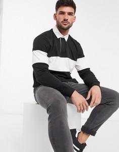 Черная рубашка рэгби со вставками колор блок и длинными рукавами New Look-Черный